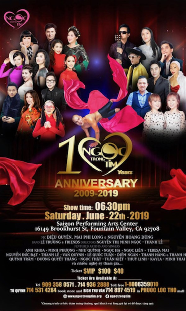 Get Information and buy tickets to 10 Year Anniversary Ngọc Trong Tim  on www.casinoentertainment.shop