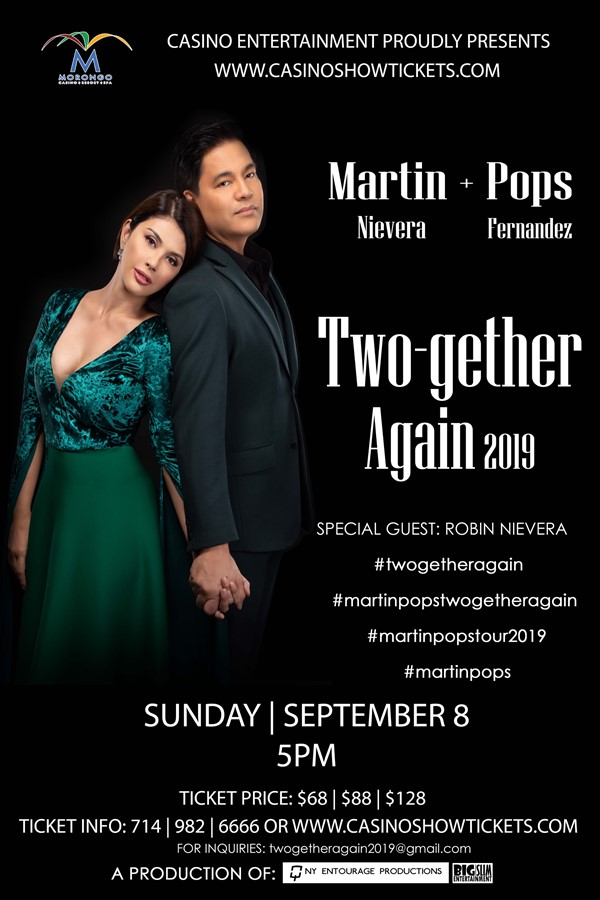 Get Information and buy tickets to Martin Nievera & Pops Fernandez Two-Gether Again 2019 on www.casinoentertainment.shop