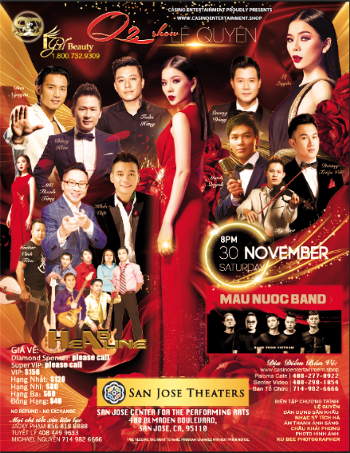 "Get Information and buy tickets to ""Q2 Show"" in San Jose Theaters Le Quyen Live Show in San Jose on www.casinoentertainment.shop"