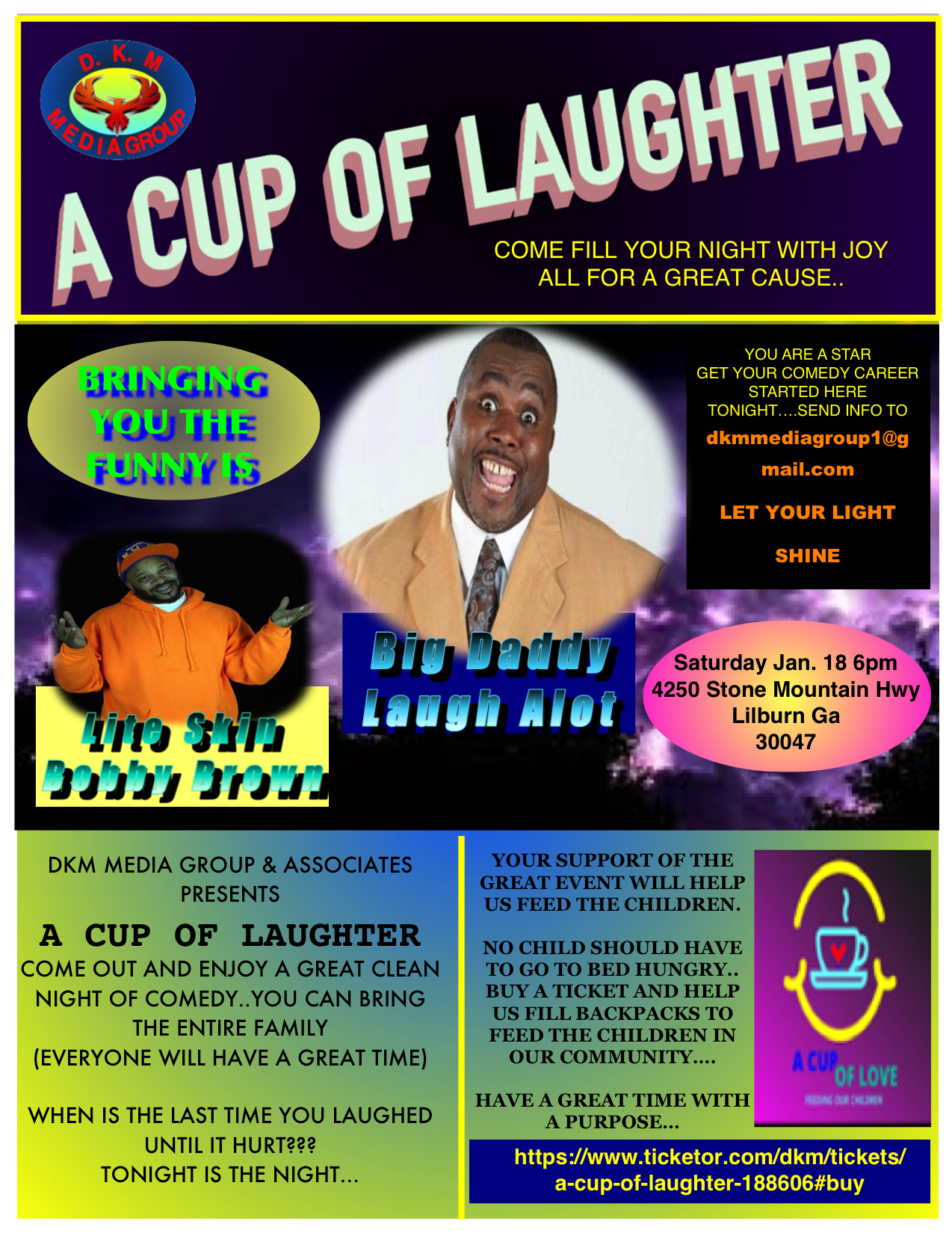 A Cup of Laughter COME FILL YOUR NIGHT WITH JOY  ALL FOR A GREAT CAUSE.. on Jan 18, 18:00@DKM Media Group & Associates - Buy tickets and Get information on DKM MEDIA & ASSOCIATES