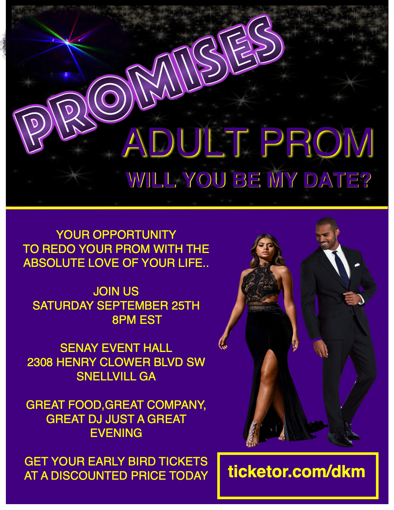 PROMISES ADULT PROM on Sep 25, 20:00@SENAY EVENT HALL - Buy tickets and Get information on DKM MEDIA & ASSOCIATES