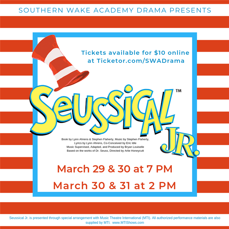 Get Information and buy tickets to Seussical Jr. March 29 (Evening) on Southern Wake Academy Drama