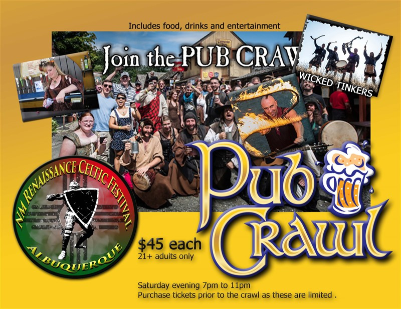 Get Information and buy tickets to NMRCF Pub Crawl 2020 7pm-10pm Music Drink & Food 5 Pubs on NM Renaissance Celtic Festival