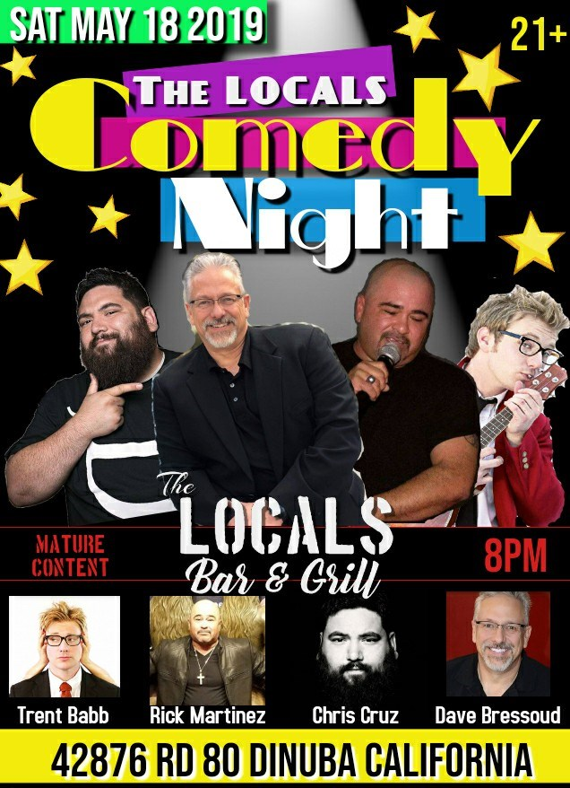 Get Information and buy tickets to LOCALS Comedy Night Saturday May 18 on The LOCALS Bar & Grill
