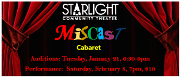 Miscast Cabaret  on Feb 08, 19:00@Starlight Community Theater - Pick a seat, Buy tickets and Get information on Starlight Community Theater starlighttickets