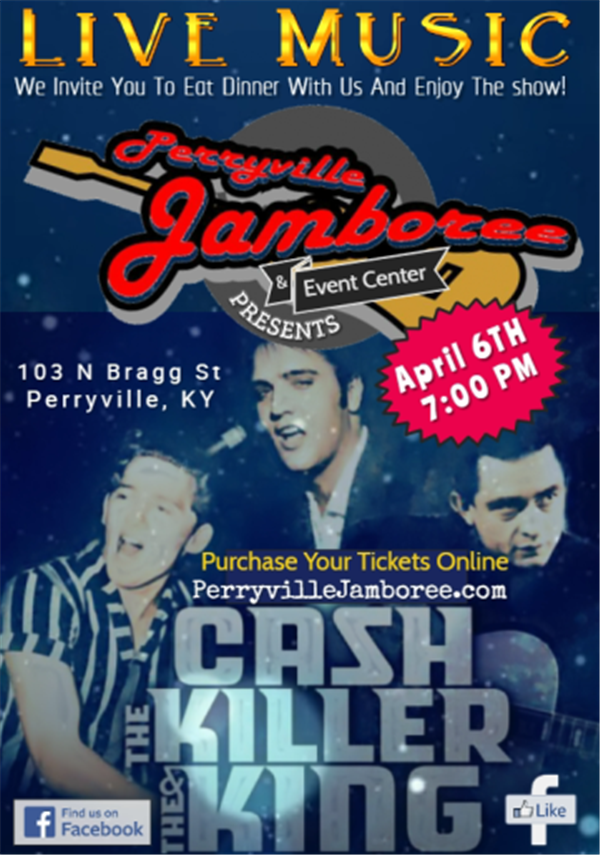 Get Information and buy tickets to Cash, The Killer and The King Hear the music of Johnny Cash, Jerry Lee Lewis and the King! on PerryvilleJamboree