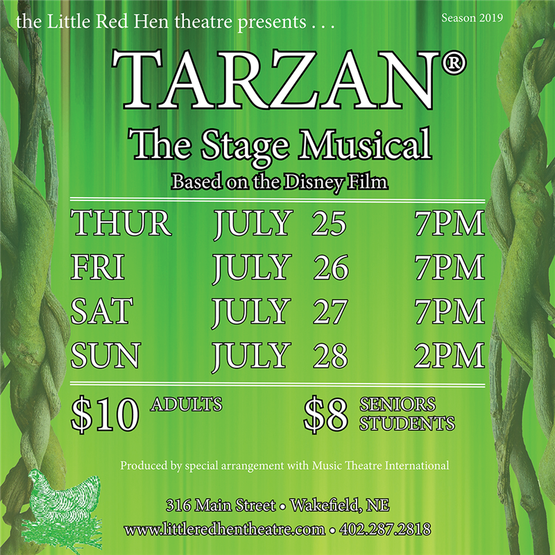 Get Information and buy tickets to TARZAN, The Stage Musical  on www.littleredhentheatre.com