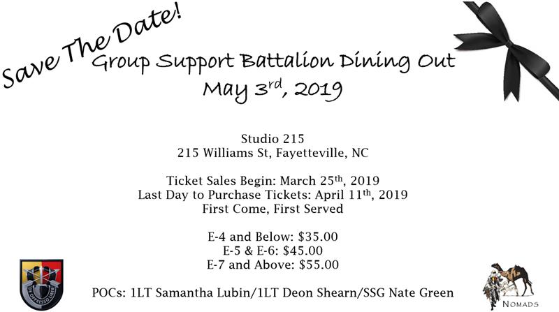 Get Information and buy tickets to Group Support Battalion Dining Out  on 3d Group Support Battalion