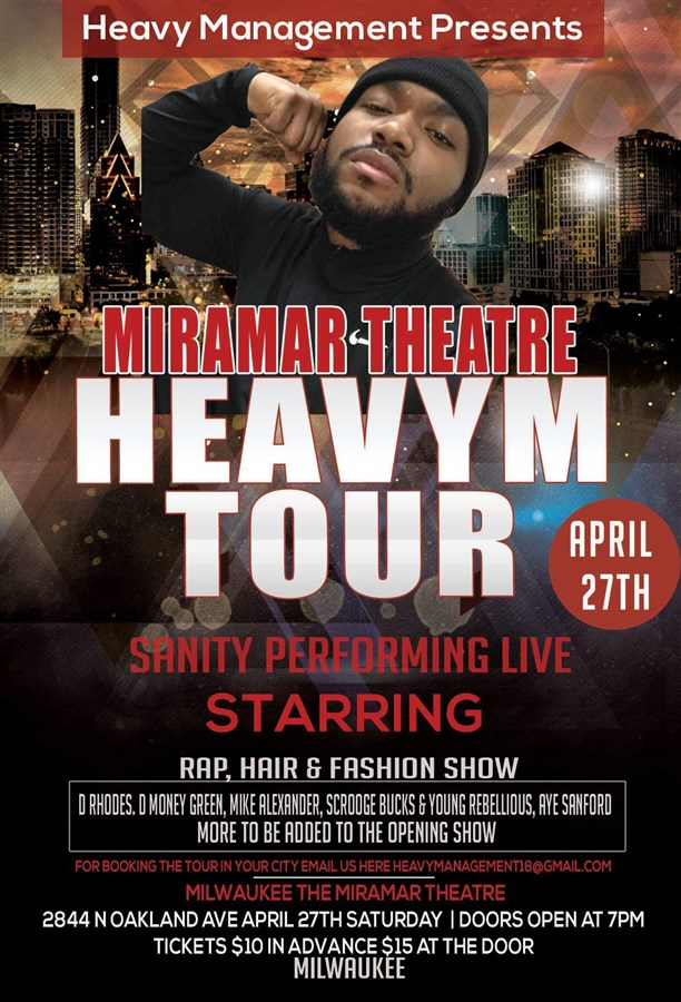 Get Information and buy tickets to HEAVY M TOUR SANITY on 4DJ5ENT.