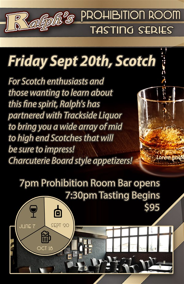 Get Information and buy tickets to Ralphs Tasting Series Scotch on Ralphs Texas Bar and Stk House