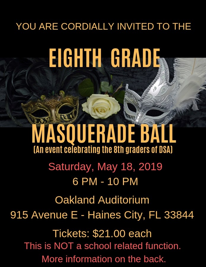 Get Information and buy tickets to 8th Grade Formal DSA Eighth Grade Students ONLY on EIGHTH GRADE FORMAL