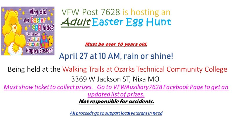 Get Information and buy tickets to VFW Adult Easter Egg Hunt OTC WALKING TRAILS on Veterans of Foreign Wars
