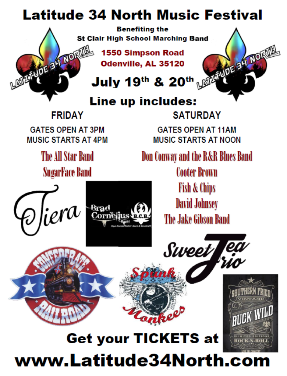 Latitude 34 North Music Festival Benefit for the St Clair County High School Band on Jul 21, 00:00@Latitude 34 North Festival - Buy tickets and Get information on Latitude 34 North Music Festival