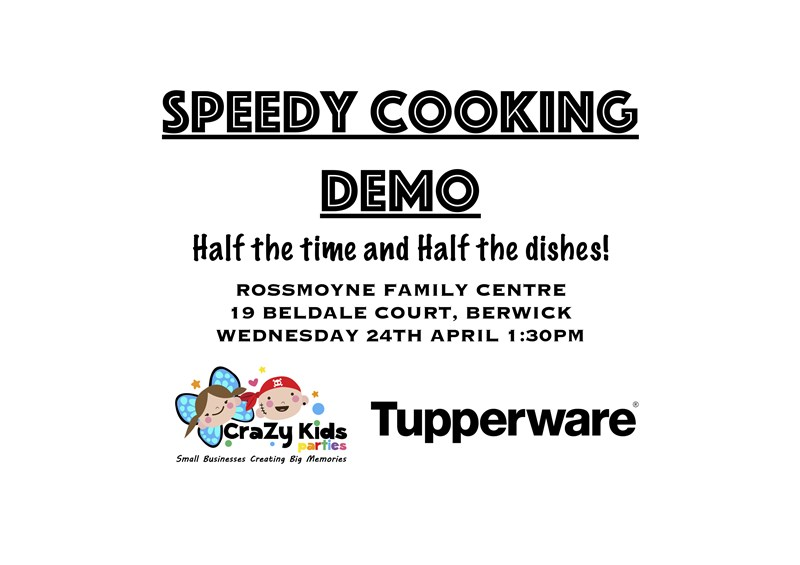 Get Information and buy tickets to Speedy Cooking Demo Half the time and Half the Dishes! on CraZy Kids Parties