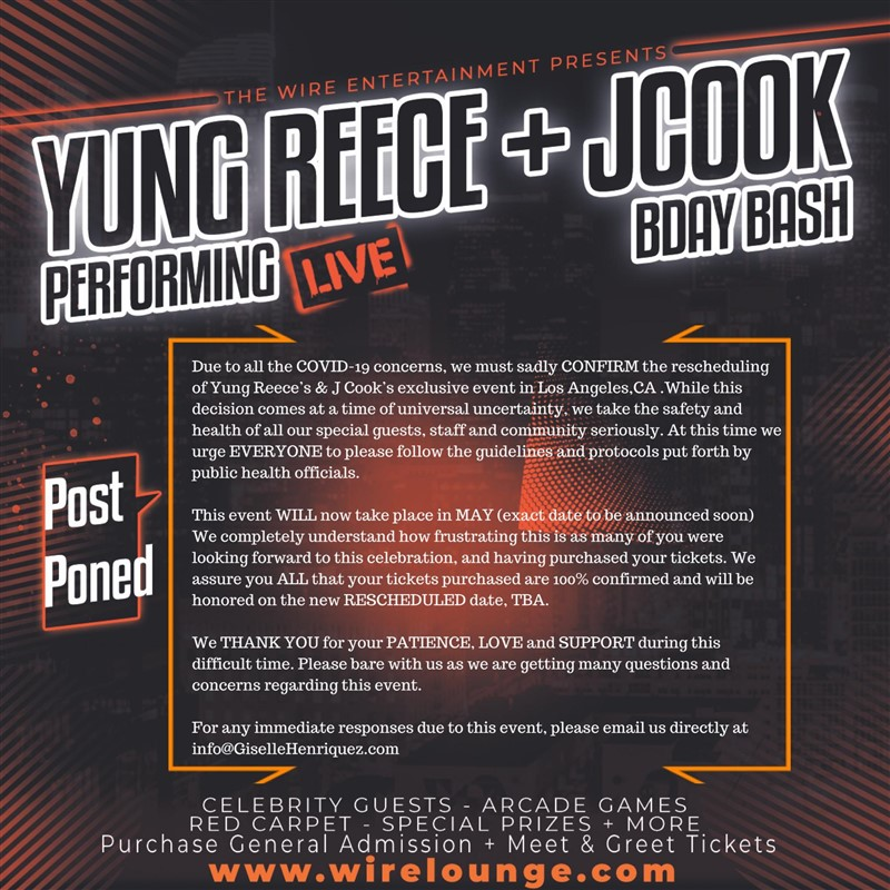 Get Information and buy tickets to Yung Reece Live + JCook BDay Bash feat. Celebrity Guests  on T30