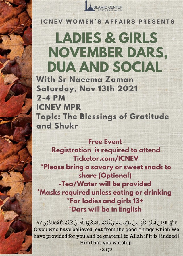 Get Information and buy tickets to November Ladies & Girls- Dars, Dua and Social  on Islamic Center of the North East Valley