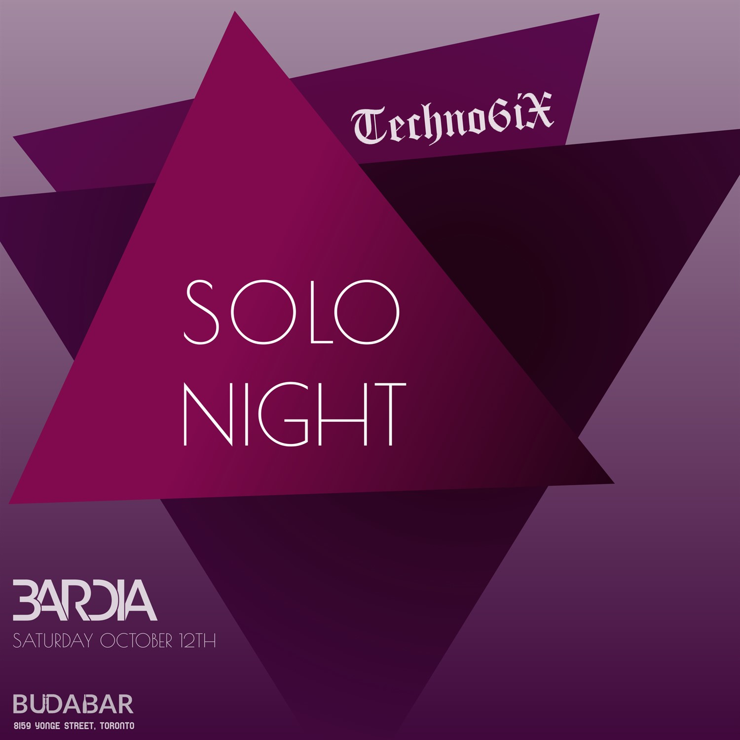 Techno6iX SOLO Night on Oct 12, 20:00@BUDABAR - Buy tickets and Get information on PEREVENTS tickets.perevents.com