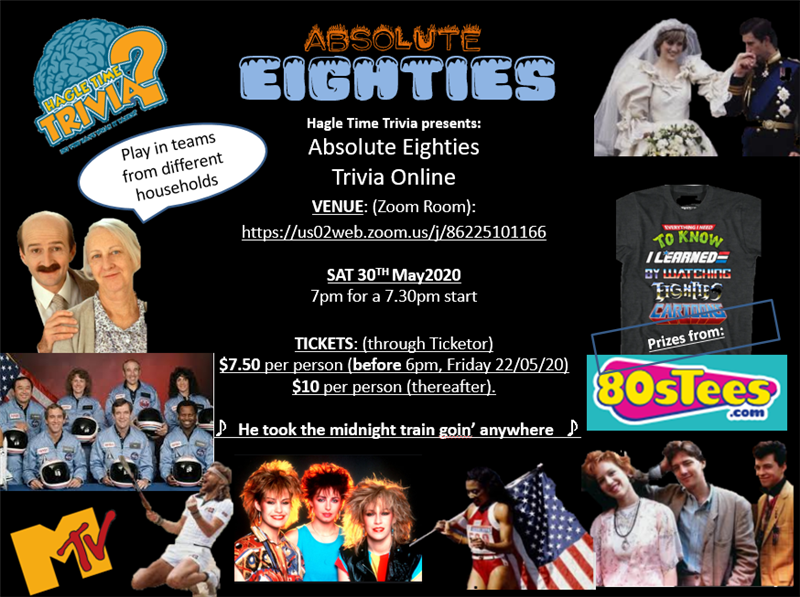 Get Information and buy tickets to Absolute Eighties Online Trivia Hagle Time Trivia on Hagle Time Trivia