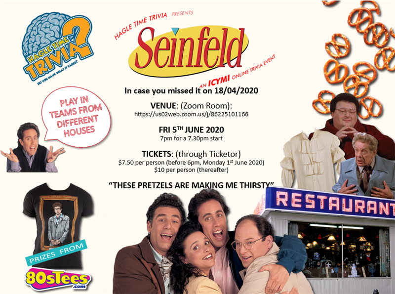 Get Information and buy tickets to (ICYMI) Seinfeld Online Trivia Hagle Time Trivia on Hagle Time Trivia