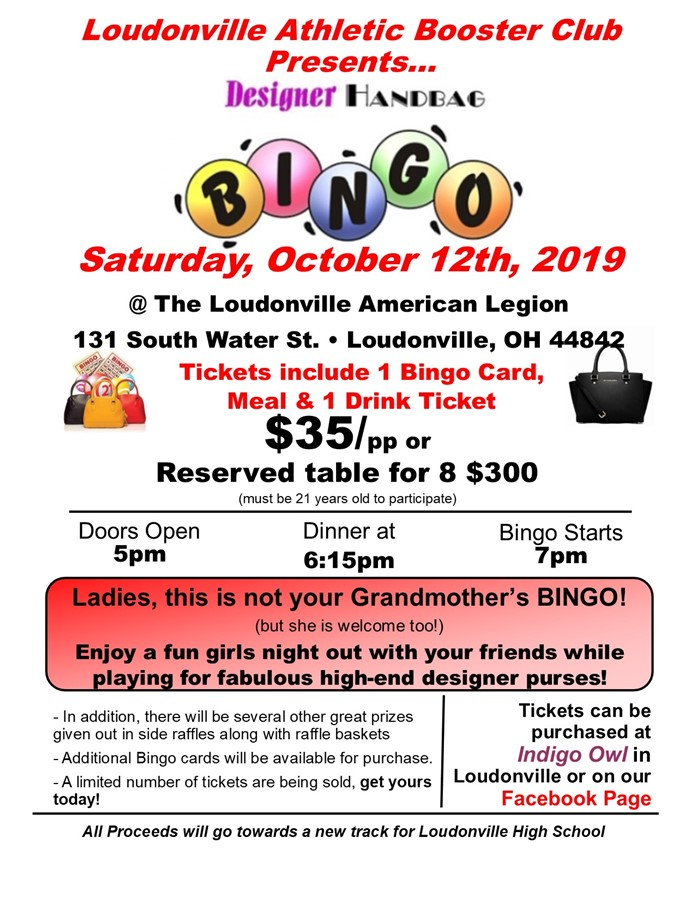 Loudonville Athletic Booster Purse Bingo
