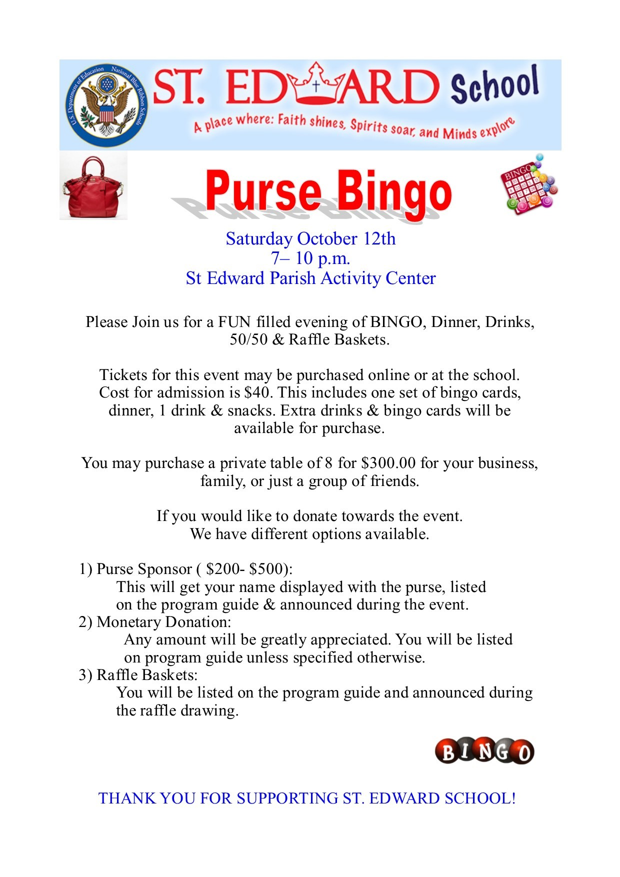 St. Edward Purse Bingo  on Oct 12, 19:00@Parish Activity Center - Buy tickets and Get information on stedwardashland.org