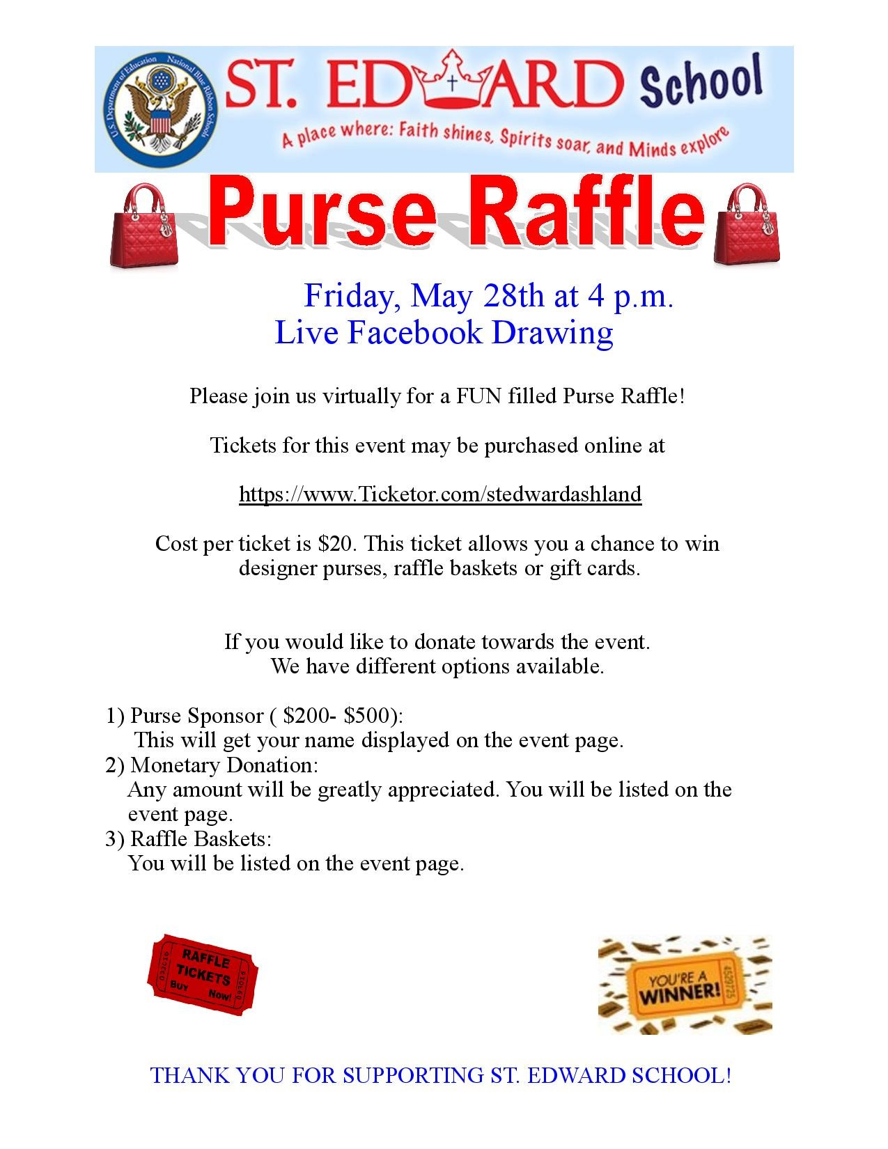 St. Edward School Purse Raffle  on May 03, 16:00@Facebook Live Event - Buy tickets and Get information on stedwardashland.org