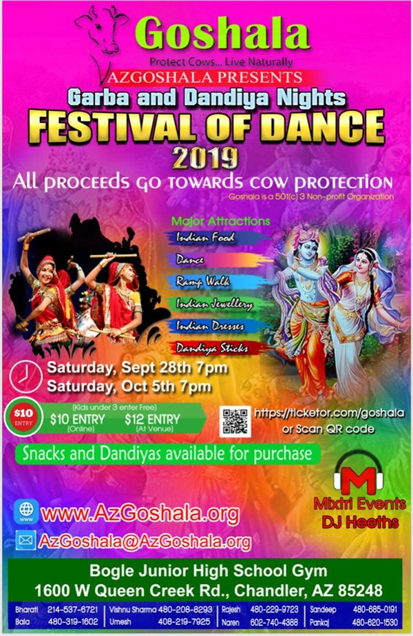 Venue ticket $12 Sept 28th Garba (or online after 7pm)