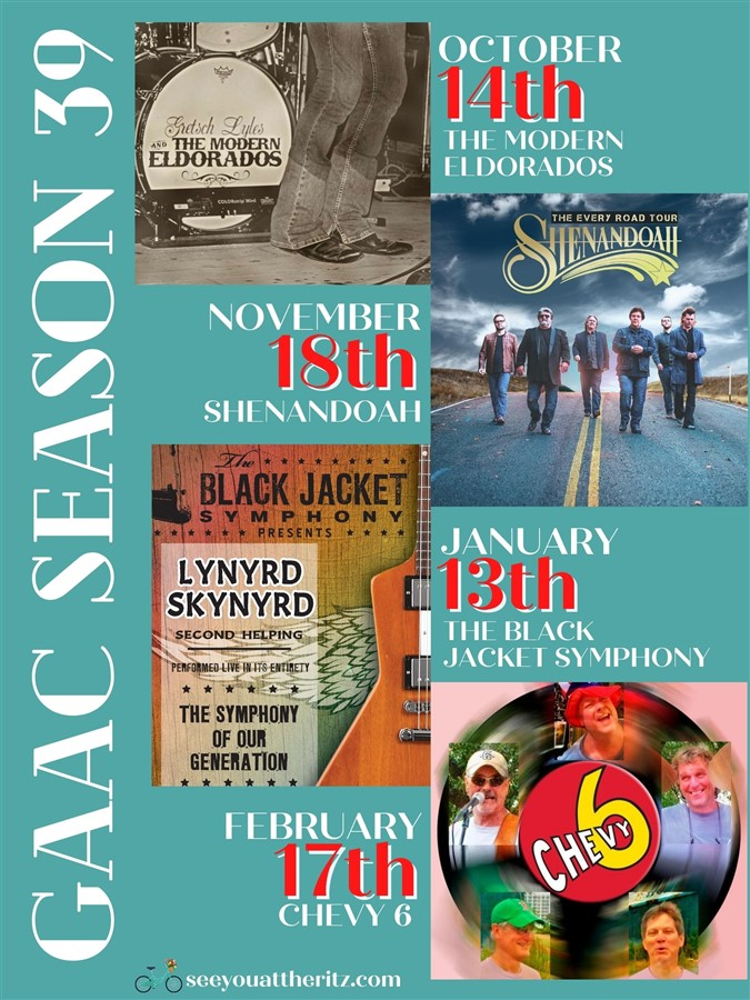 Get Information and buy tickets to SEASON 39 The Modern Eldorados, Shenandoah, The Black Jacket Symphony, and Chevy 6 on Greenville Area Arts Council