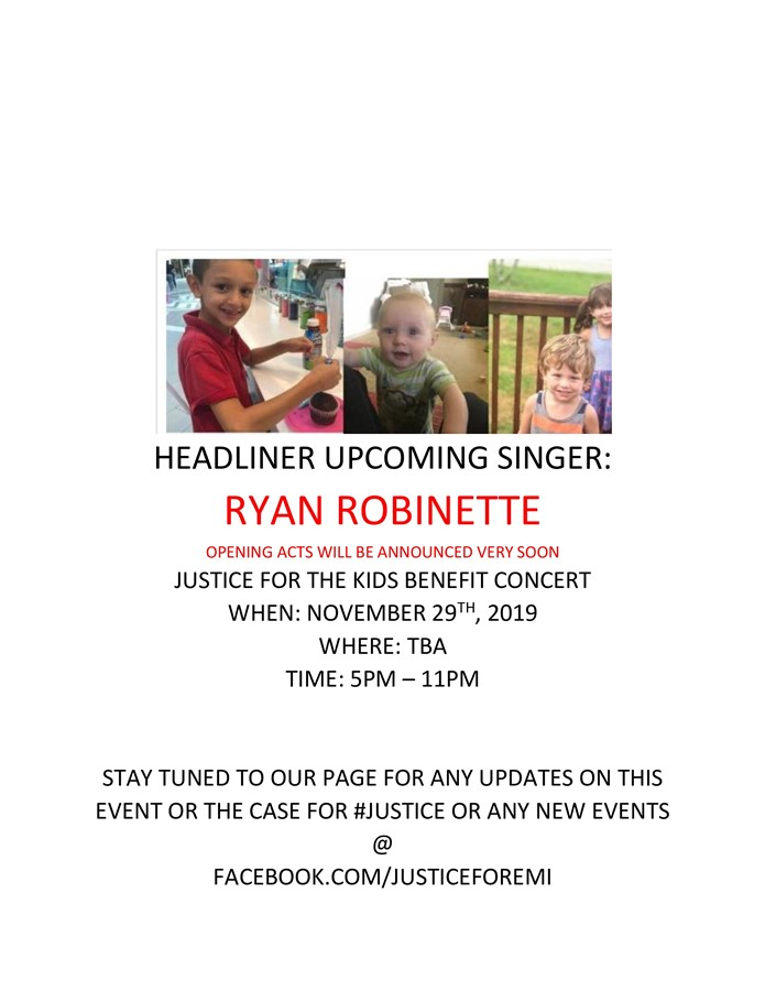 Ryan Robinette Live In Concert benifiting #Justiceforthekids