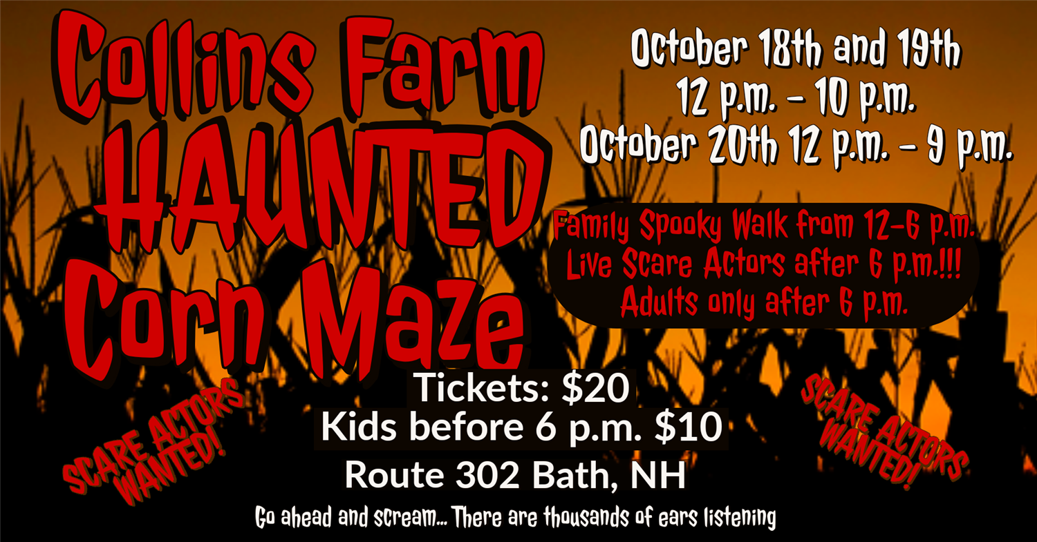 Haunted Corn Maze  on Oct 18, 12:00@Haunted Corn Maze - Buy tickets and Get information on Collins Farm Corn Maze