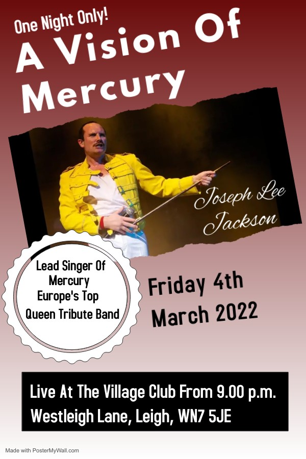 Get Information and buy tickets to Freddie Mercury Tribute - Joseph Lee Jackson  on Ace Entertainment Leigh