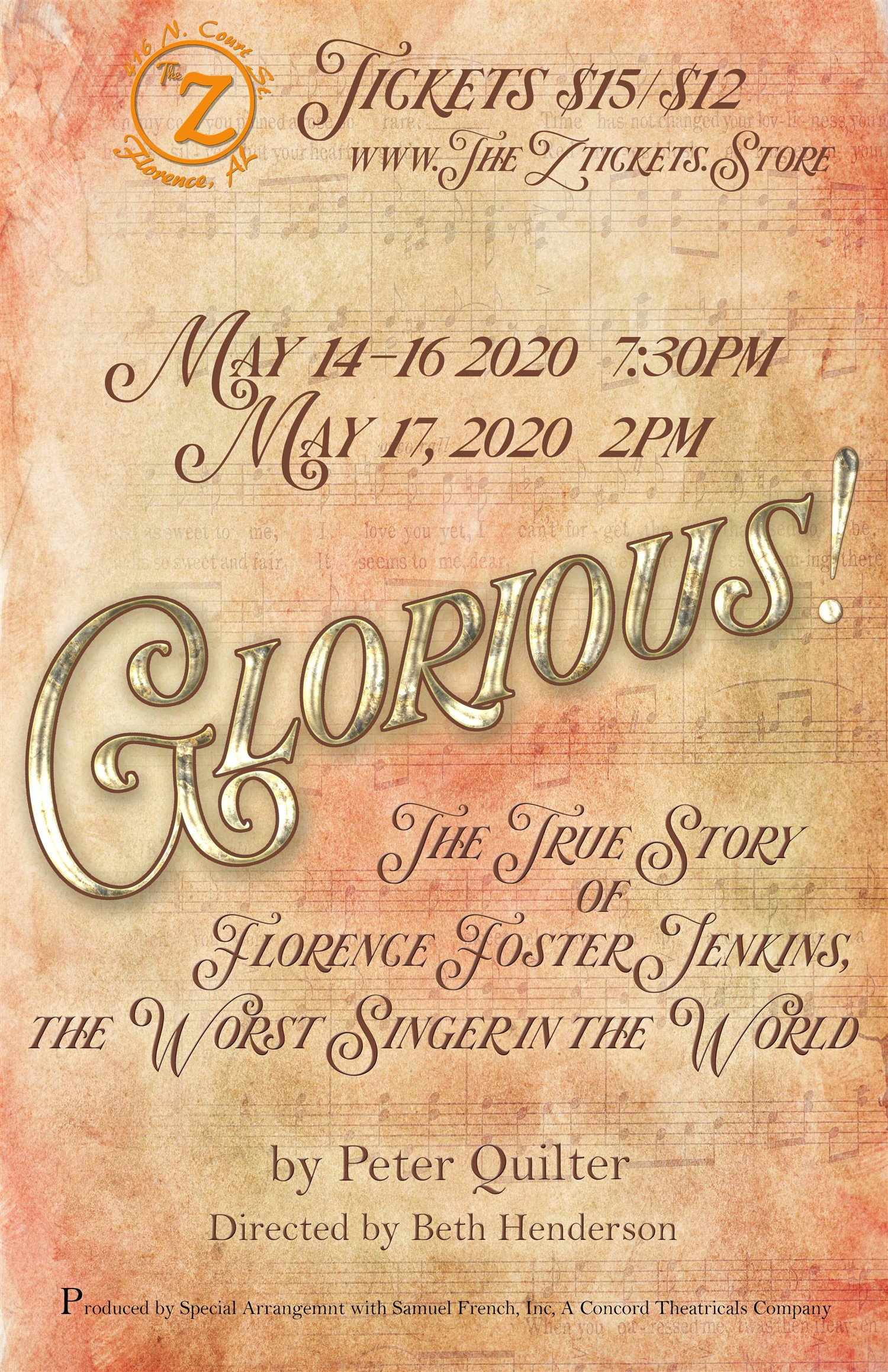 Glorious! The True Story of Florence Foster Jenkins The Worst Singer in the World on May 19, 00:00@The Z - Pick a seat, Buy tickets and Get information on Historic Zodiac Playhouse