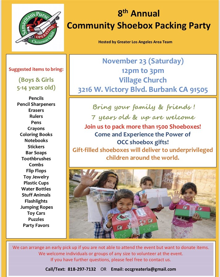 8th Annual Thanksgiving Community Shoebox Packing Party