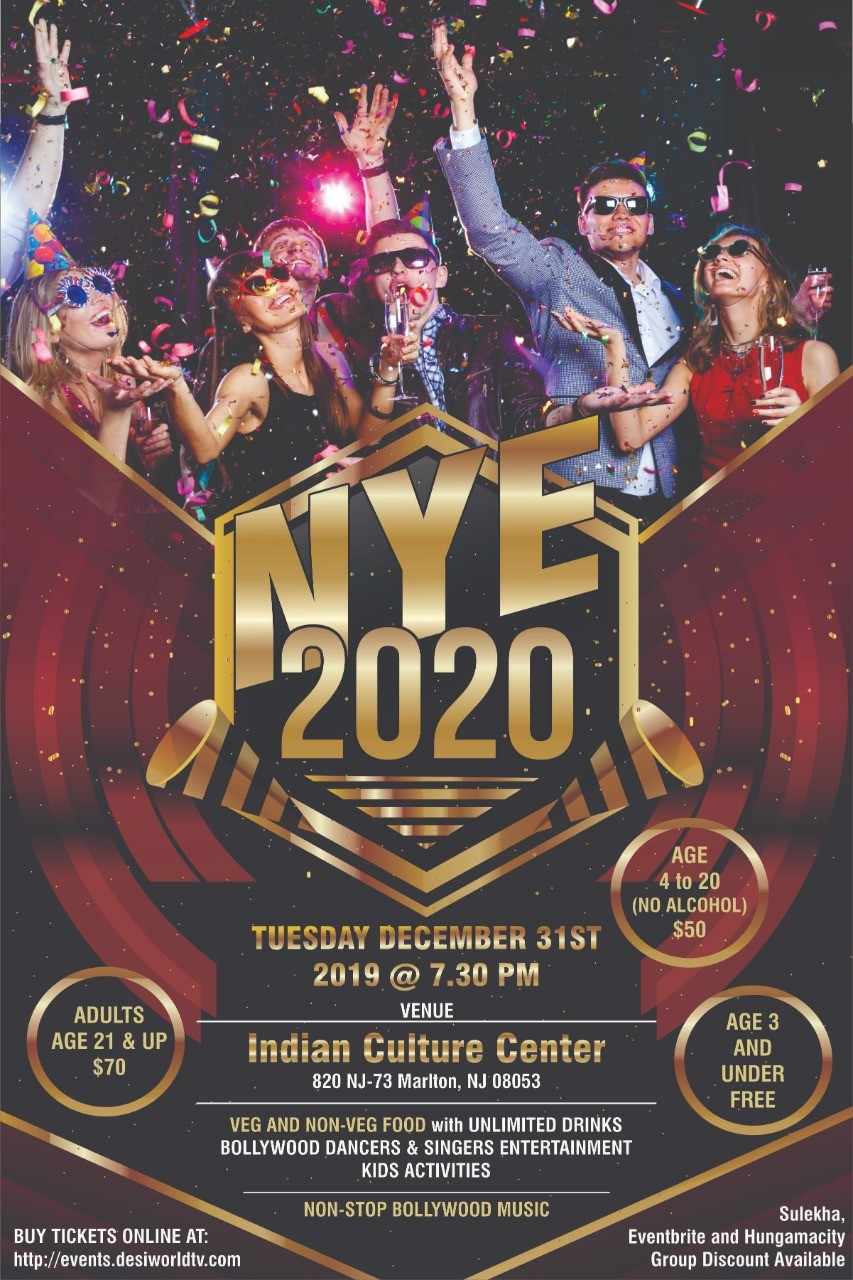New Year Party @ Indian Cultural Center New year's Night Celebration @ICC (Indian Cultural Center) on Dec 31, 19:30@Indian Cultural Center ICC - Buy tickets and Get information on DesiTV by Desitweets desitvevents.com