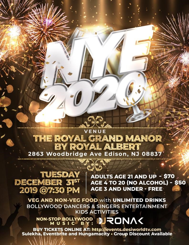 New year Party at Royal Grand Manor Edison NJ New Year's Eve Bollywood Theme Party on Dec 31, 19:30@Royal Grand Manor - Buy tickets and Get information on DesiTV by Desitweets desitvevents.com