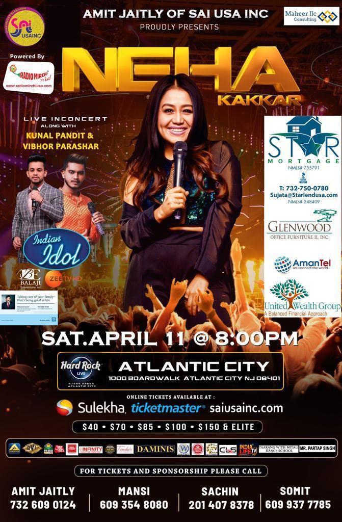 Neha Kakkar Live in Concert 2020 Live in NJ Atlantic City, 1000 Boardwalk, Atlantic City, NJ 08401 on Apr 11, 20:00@Hard Rock Hotel Casino Atlantic City - Buy tickets and Get information on DesiEvents desievent.org