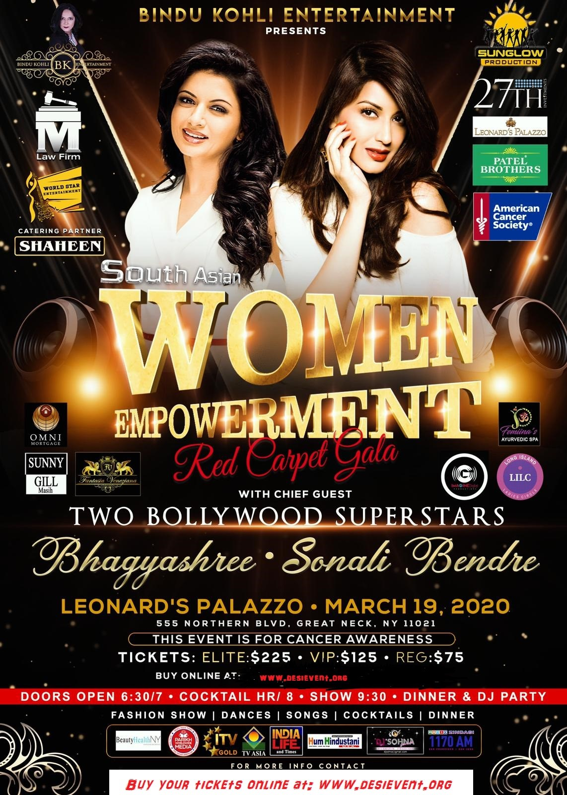 First Time In USA Two Amazing Bollywood Actresses Sonali Bendre and Bhagyashree At New York March 19th on Mar 19, 20:00@Leonard's Palazzo - Buy tickets and Get information on Desi Events desievent.org