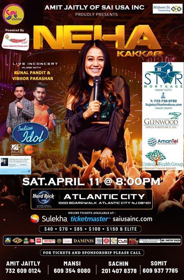 Get Information and buy tickets to Neha Kakkar Live in Concert 2020 Live in NJ Atlantic City, 1000 Boardwalk, Atlantic City, NJ 08401 on DesiEvents