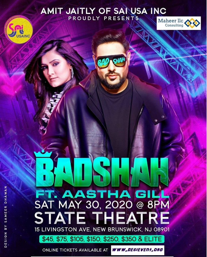 Get Information and buy tickets to Badshah and Aastha Gill Live Concert in New jersey State Theatre NJ, 15 Livingston Ave, New Brunswick, NJ 08901 on Desi Events
