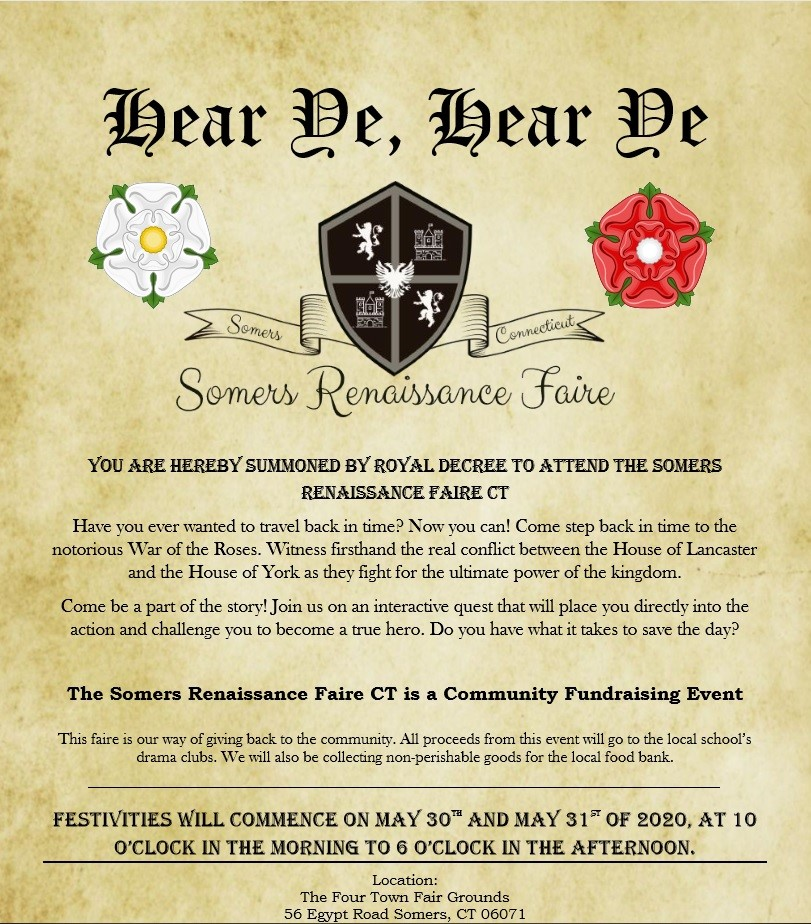Somers Renaissance Faire CT  on May 30, 10:00@Four Town Fairgrounds - Buy tickets and Get information on somersrenfairect@yahoo.com