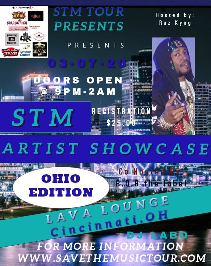 STM Artist Showcase Cincinnati Edition  on Mar 07, 21:00@Lava Lounge - Buy tickets and Get information on www.savethemusictour.com