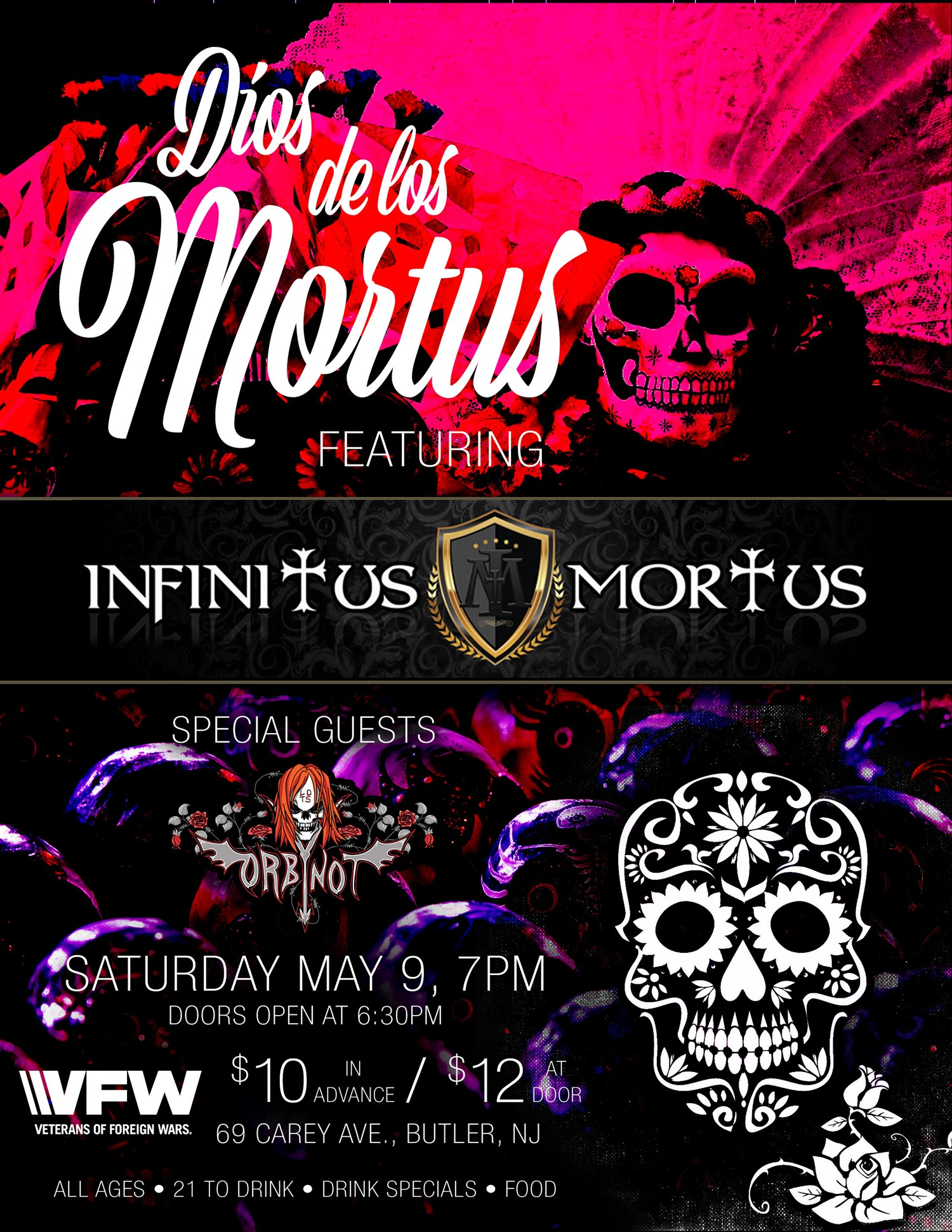 Dios de los Mortus VFW Show on May 09, 18:30@VFW Butler NJ - Buy tickets and Get information on www.infinitusmortus.com