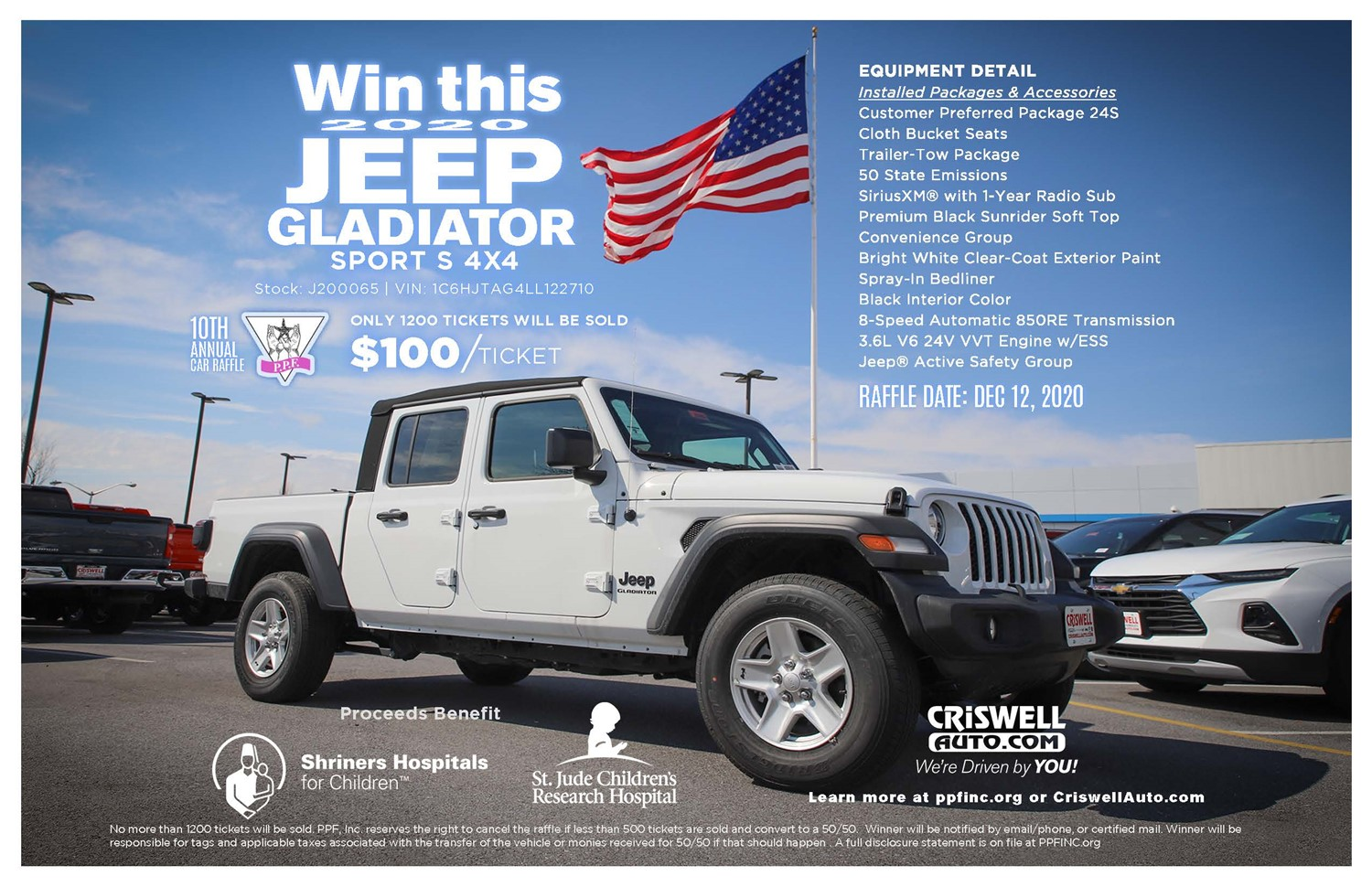 PPF, Inc 10th Annual CriswellAuto Jeep Gladiator Raffle Don't need to be present to WIN! on Dec 12, 14:00@99.9 WFRE Radio Station - Buy tickets and Get information on Patty Pollatos Fund