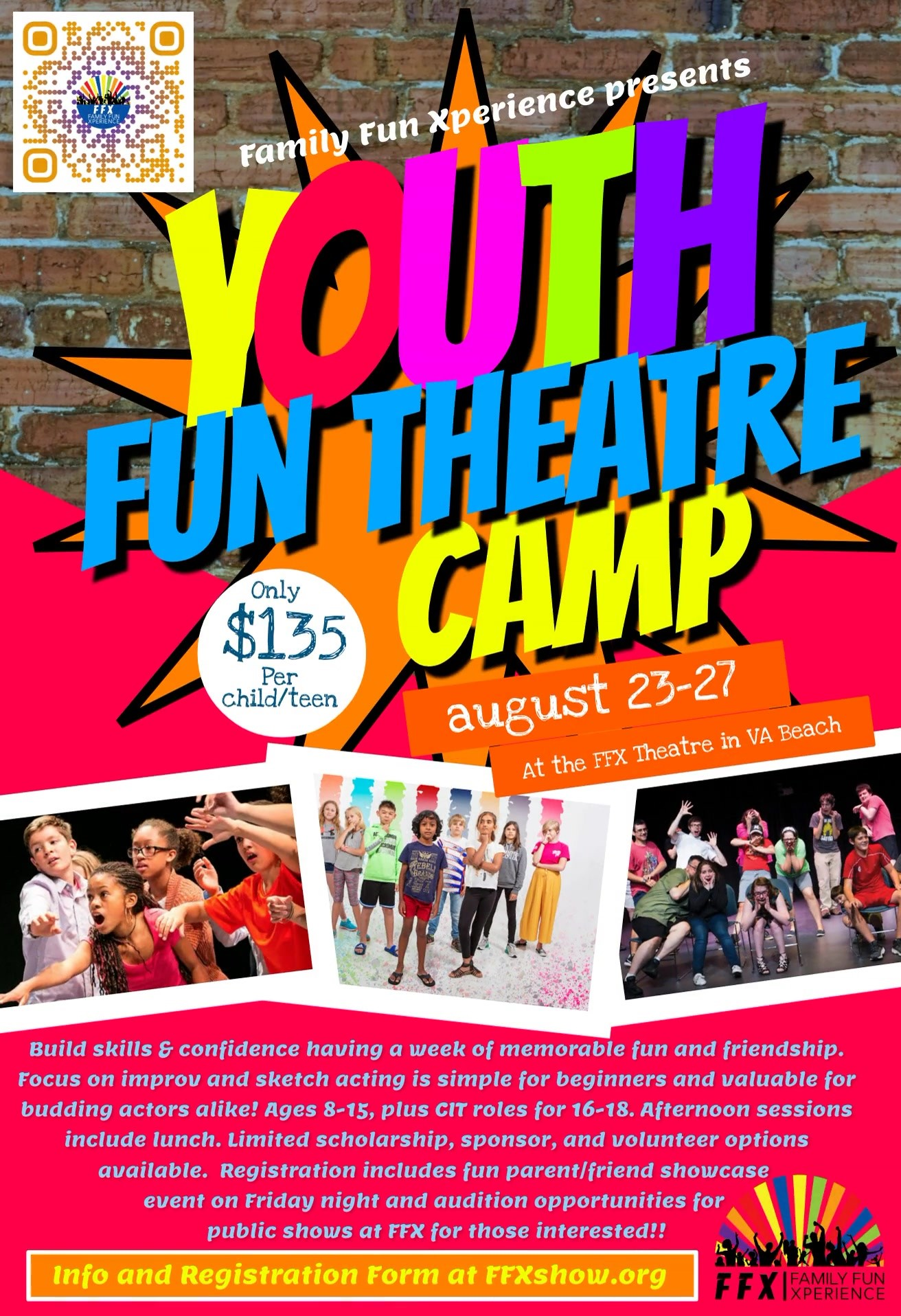 Theatre Camp 2021 Youth on Aug 23, 12:00@FFX Theatre - Buy tickets and Get information on Family Fun Xperience tickets.ffxshow.org