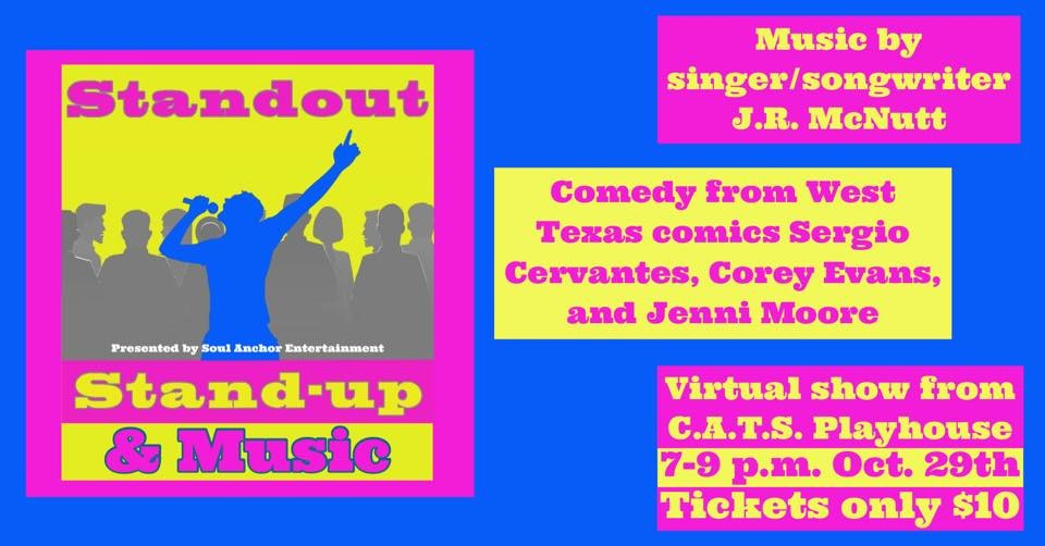 Standout Stand-up & Music Fundraiser for CATS Playhouse on Oct 29, 19:00@Online - Buy tickets and Get information on Children and Adults Theatrical