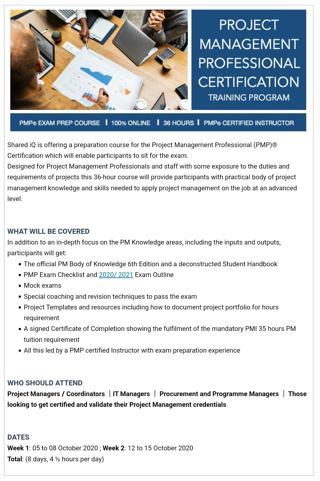 PMP Exam Preparation Certification Course on Oct 05, 08:30@Online - Buy tickets and Get information on www.sharediq.org