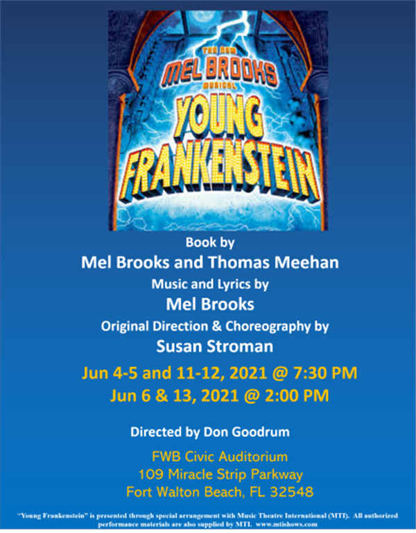 Get Information and buy tickets to Young Frankenstein The Musical June 4, 5, 6,11, 12, 13 2021 on Stage Crafters Community Theatre