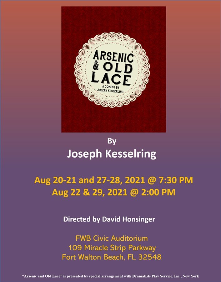 Get Information and buy tickets to Arsenic and Old Lace Aug 20, 21, 22, 27, 28, 29 2021 on Stage Crafters Community Theatre