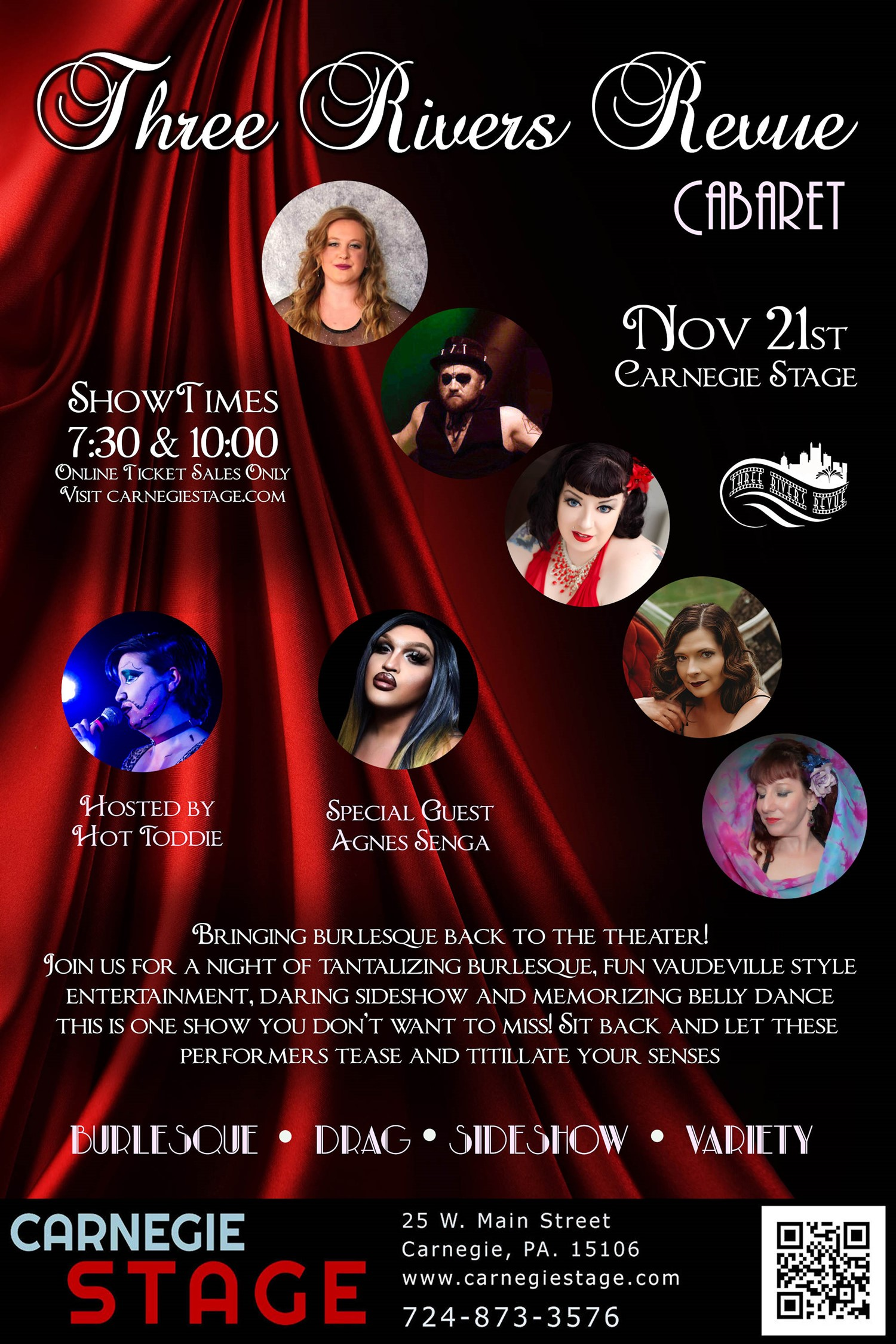 Three Rivers Revue Cabaret & Burlesque on Nov 23, 00:00@Carnegie Stage -  Limited 15 - Buy tickets and Get information on Carnegie Stage carnegiestage