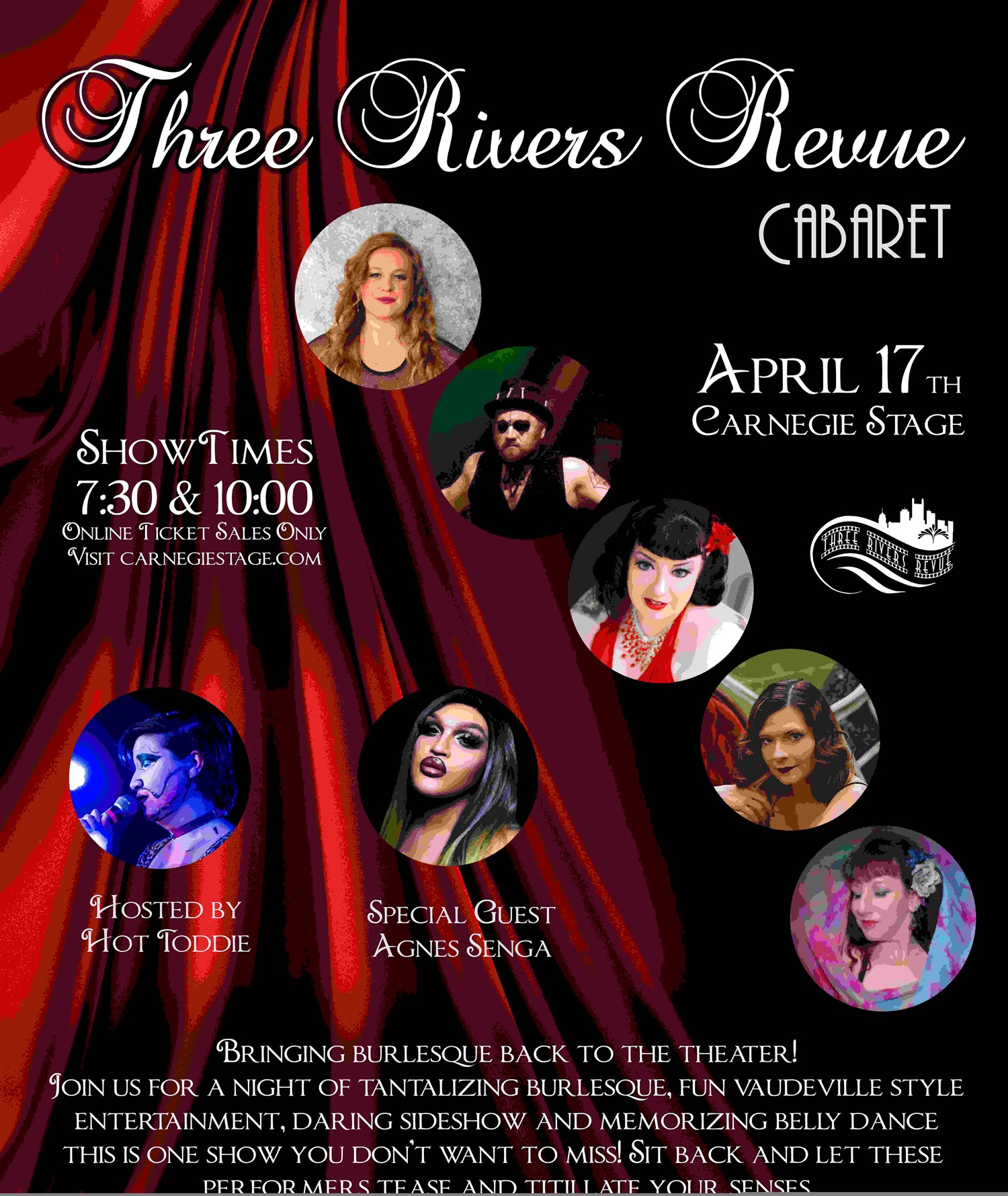 Three Rivers Revue Cabaret on Apr 19, 00:00@Carnegie Stage -  Limited 15 - Buy tickets and Get information on Carnegie Stage carnegiestage